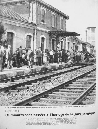 La gare en 1957, 80 min après le drame. (Photo Paris-Match)